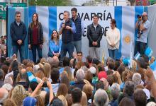 Durante su discurso, Macri se mostró escoltado por Vidal y acompañado por la vicepresidenta, Gabriela Michetti; y los candidatos a diputados bonaerenses, Cristian Ritondo y María Luján Rey.