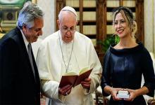 Imagen de archivo del encuentro que mantuvo Alberto Fernández y Fabiola Yañez con el papa Francisco en el Vaticano.