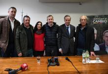 Hein, Lena, De Angeli, Frigerio, Pichetto y Leissa, en la conferencia de prensa ralizada en Gualeguaychú.