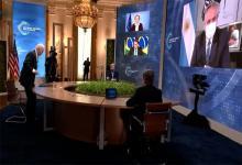 Alberto Fernández y Joseph Biden durante la cumbre de Cambio Climático organizada por Estados Unidos.