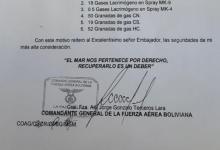 La carta presentada por el canciller boliviano