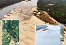 Un montaje de fotos publicado este domingo en la portada del diario El Telégrafo de Paysandú, ciudad uruguaya vecina a Colón, muestra cómo se encuentra actualmente el lecho del río -prácticamente seco-, en el tramo comprendido entre las islas Queguay Grande (a la izquierda de la foto) y Queguay Chica (a la derecha).